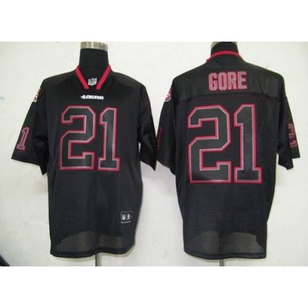 49ers #21 Frank Gore Lights Out Black Stitched NFL Jersey