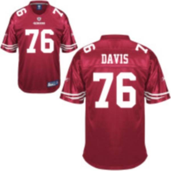 49ers #76 Anthony Davis Red Stitched NFL Jersey