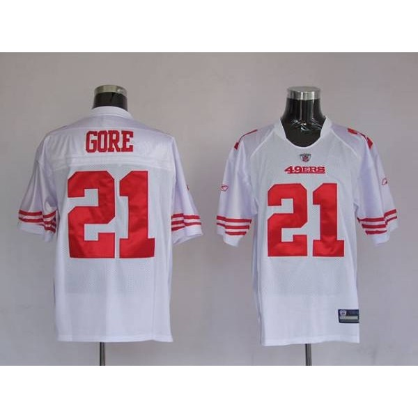 49ers Frank Gore #21 Stitched White NFL Jersey
