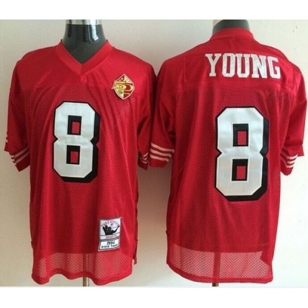Mitchell And Ness 50TH 49ers #8 Steve Young Red Stitched Throwback NFL Jersey