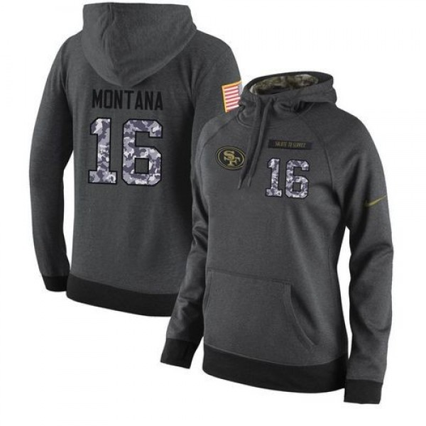 Women's NFL San Francisco 49ers #16 Joe Montana Stitched Black Anthracite Salute to Service Player Hoodie Jersey