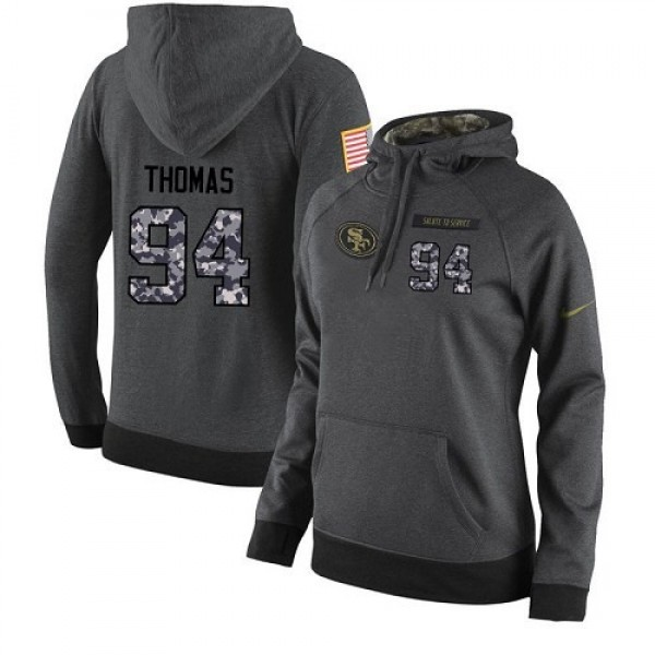 Women's NFL San Francisco 49ers #94 Solomon Thomas Stitched Black Anthracite Salute to Service Player Hoodie Jersey