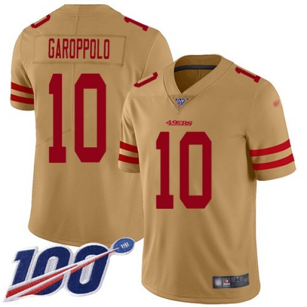 Nike 49ers #10 Jimmy Garoppolo Gold Men's Stitched NFL Limited Inverted Legend 100th Season Jersey