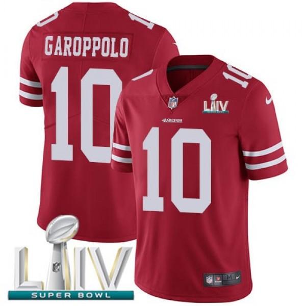 Nike 49ers #10 Jimmy Garoppolo Red Super Bowl LIV 2020 Team Color Men's Stitched NFL Vapor Untouchable Limited Jersey