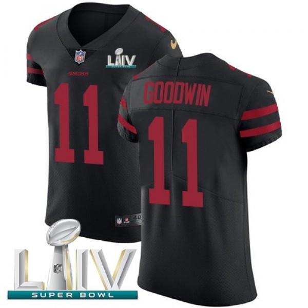 Nike 49ers #11 Marquise Goodwin Black Super Bowl LIV 2020 Alternate Men's Stitched NFL Vapor Untouchable Elite Jersey