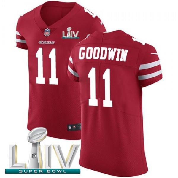 Nike 49ers #11 Marquise Goodwin Red Super Bowl LIV 2020 Team Color Men's Stitched NFL Vapor Untouchable Elite Jersey