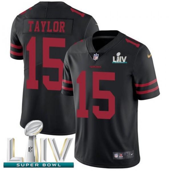 Nike 49ers #15 Trent Taylor Black Super Bowl LIV 2020 Alternate Men's Stitched NFL Vapor Untouchable Limited Jersey