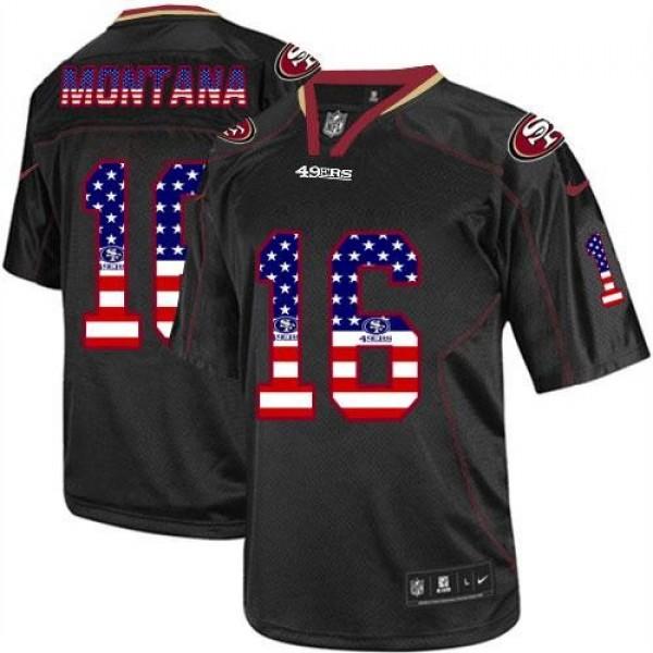 Nike 49ers #16 Joe Montana Black Men's Stitched NFL Elite USA Flag Fashion Jersey