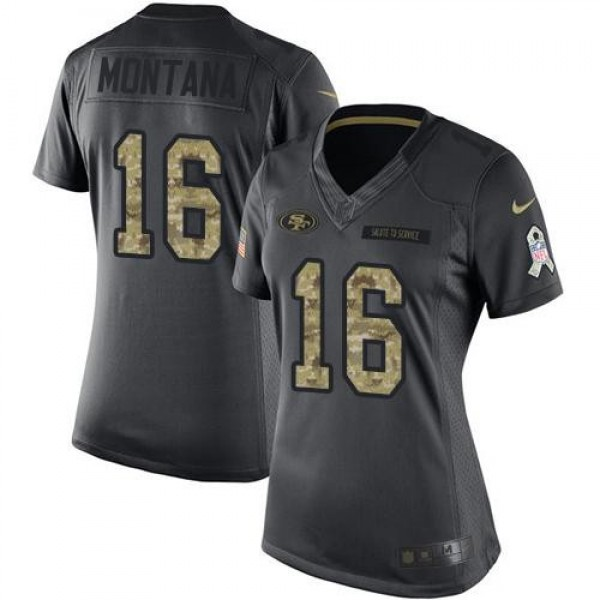 Women's 49ers #16 Joe Montana Black Stitched NFL Limited 2016 Salute to Service Jersey