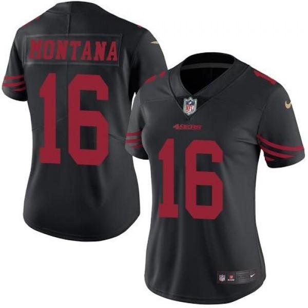 Women's 49ers #16 Joe Montana Black Stitched NFL Limited Rush Jersey