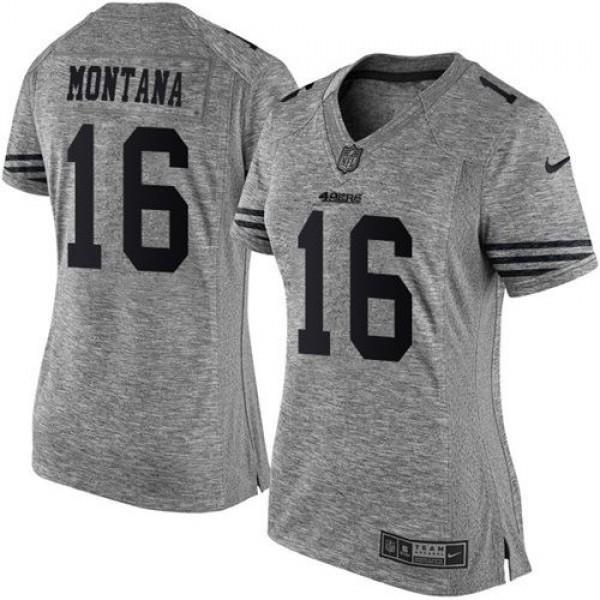 Women's 49ers #16 Joe Montana Gray Stitched NFL Limited Gridiron Gray Jersey