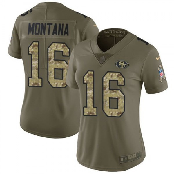 Women's 49ers #16 Joe Montana Olive Camo Stitched NFL Limited 2017 Salute to Service Jersey