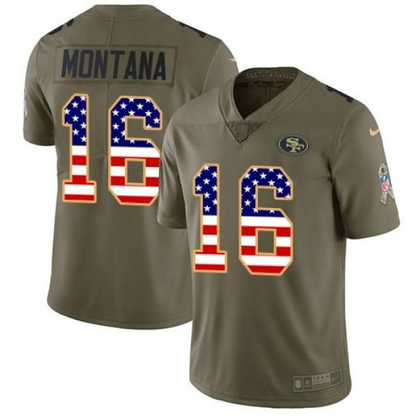 Nike 49ers #16 Joe Montana Olive/USA Flag Men's Stitched NFL Limited 2017 Salute To Service Jersey