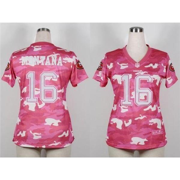 Women's 49ers #16 Joe Montana Pink Stitched NFL Elite Camo Jersey