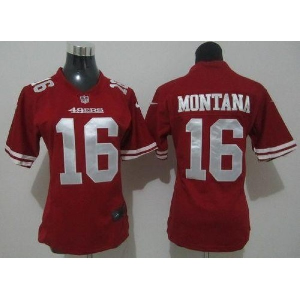 Women's 49ers #16 Joe Montana Red Team Color Stitched NFL Elite Jersey