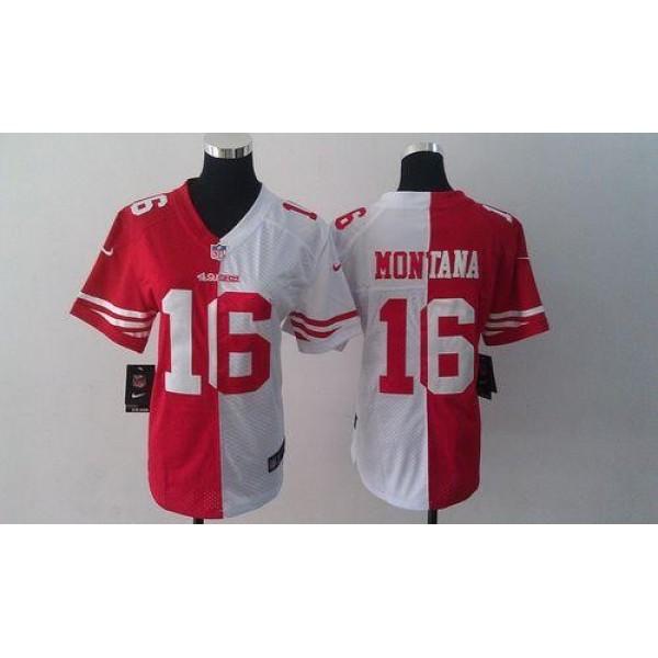 Women's 49ers #16 Joe Montana Red White Stitched NFL Elite Split Jersey