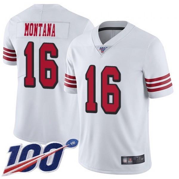Nike 49ers #16 Joe Montana White Rush Men's Stitched NFL Limited 100th Season Jersey