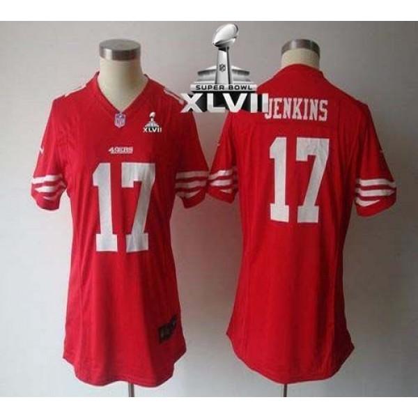 Women's 49ers #17 AJ Jenkins Red Team Color Super Bowl XLVII NFL Game Jersey
