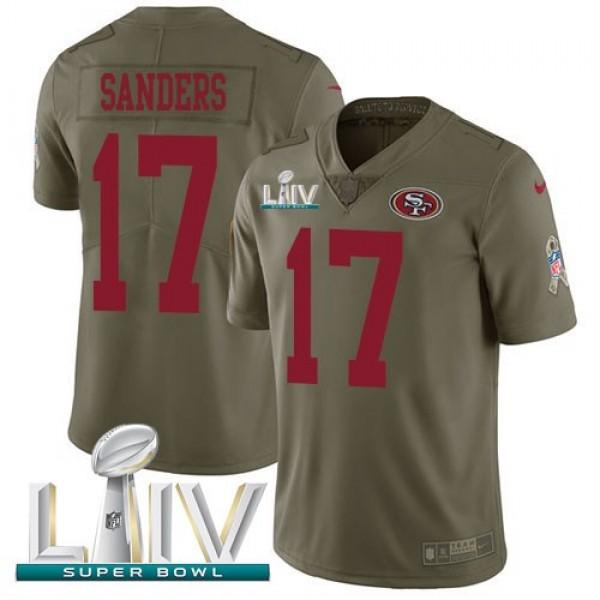 Nike 49ers #17 Emmanuel Sanders Olive Super Bowl LIV 2020 Men's Stitched NFL Limited 2017 Salute To Service Jersey