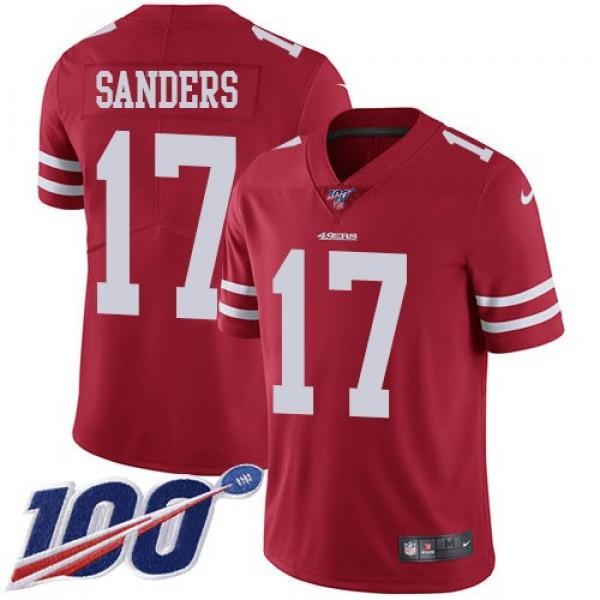 Nike 49ers #17 Emmanuel Sanders Red Team Color Men's Stitched NFL 100th Season Vapor Limited Jersey