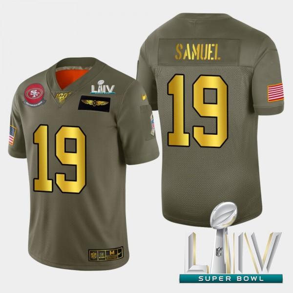 Nike 49ers #19 Deebo Samuel Men's Olive Gold Super Bowl LIV 2020 2019 Salute to Service NFL 100 Limited Jersey