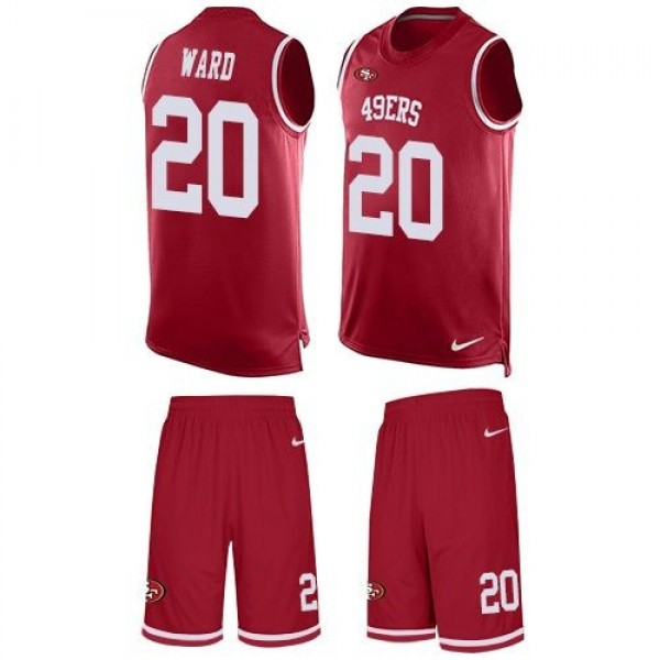 Nike 49ers #20 Jimmie Ward Red Team Color Men's Stitched NFL Limited Tank Top Suit Jersey