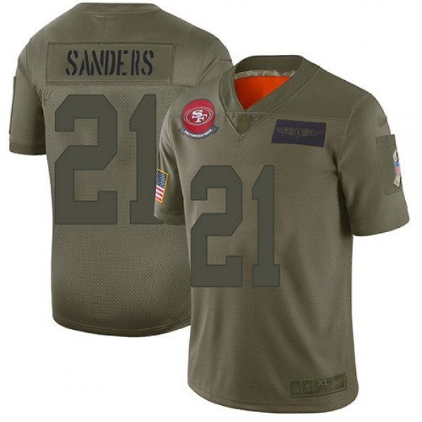 Nike 49ers #21 Deion Sanders Camo Men's Stitched NFL Limited 2019 Salute To Service Jersey
