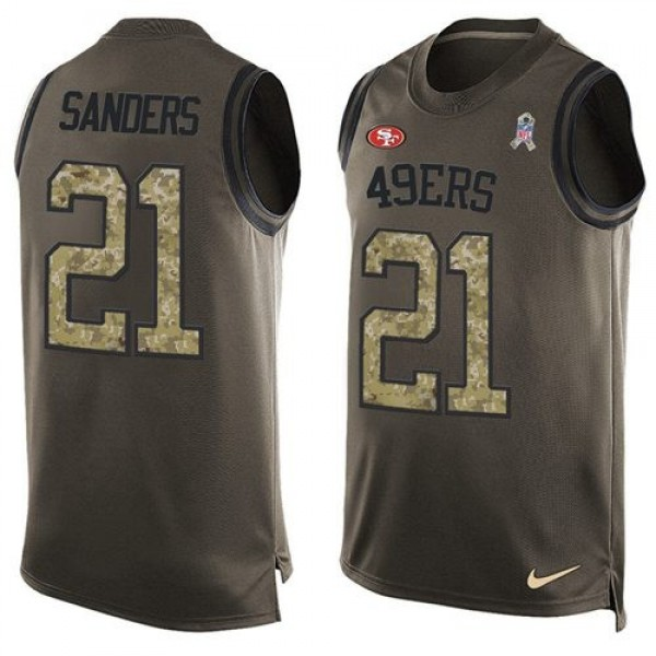 Nike 49ers #21 Deion Sanders Green Men's Stitched NFL Limited Salute To Service Tank Top Jersey