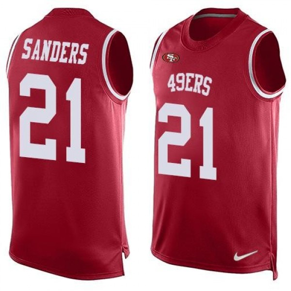 Nike 49ers #21 Deion Sanders Red Team Color Men's Stitched NFL Limited Tank Top Jersey