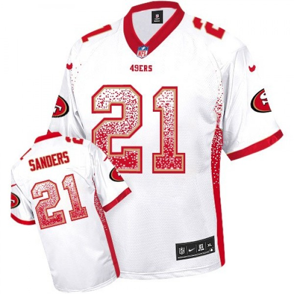 Nike 49ers #21 Deion Sanders White Men's Stitched NFL Elite Drift Fashion Jersey