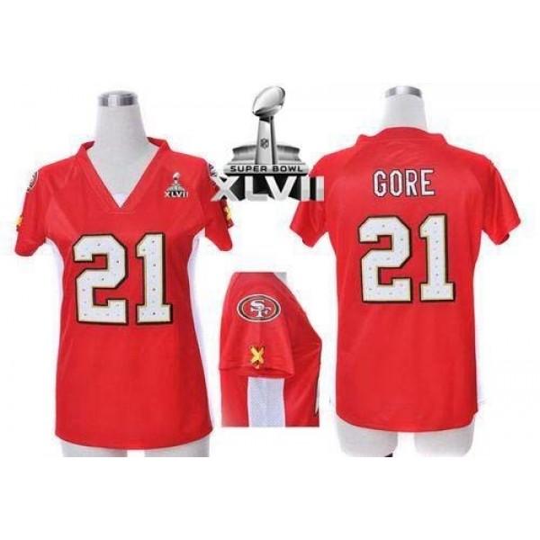 Women's 49ers #21 Frank Gore Red Team Color Draft Him Name Number Top Super Bowl XLVII Stitched NFL Elite Jersey