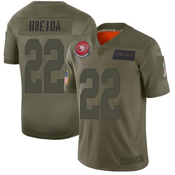 Nike 49ers #22 Matt Breida Camo Men's Stitched NFL Limited 2019 Salute To Service Jersey