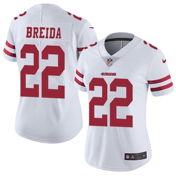 Women's 49ers #22 Matt Breida White Stitched NFL Vapor Untouchable Limited Jersey