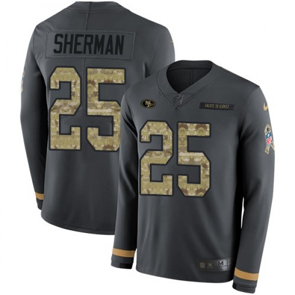 Nike 49ers #25 Richard Sherman Anthracite Salute to Service Men's Stitched NFL Limited Therma Long Sleeve Jersey