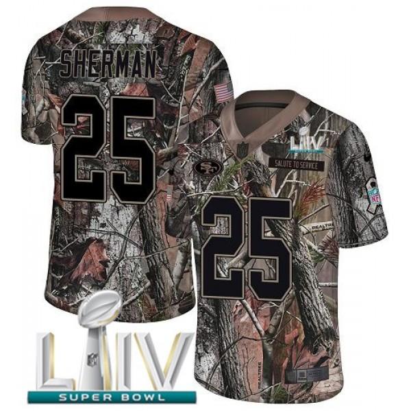 Nike 49ers #25 Richard Sherman Camo Super Bowl LIV 2020 Men's Stitched NFL Limited Rush Realtree Jersey