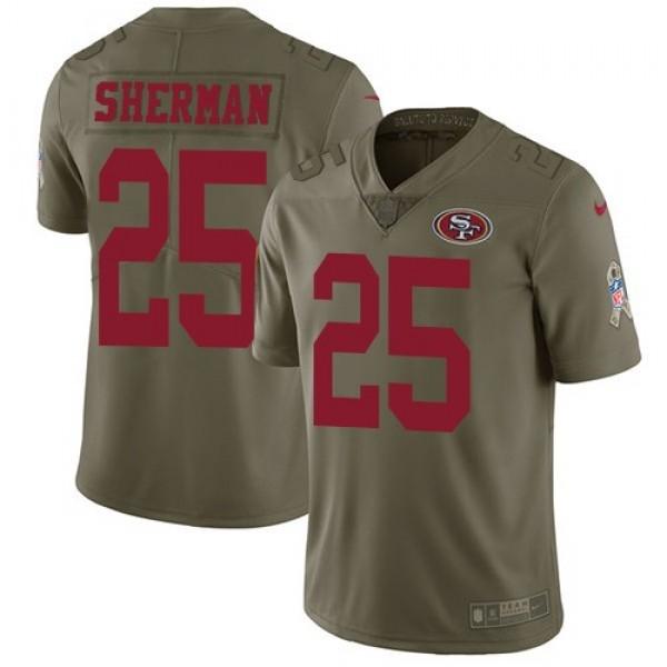 Nike 49ers #25 Richard Sherman Olive Men's Stitched NFL Limited 2017 Salute To Service Jersey