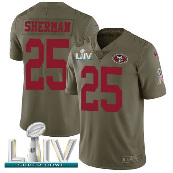 Nike 49ers #25 Richard Sherman Olive Super Bowl LIV 2020 Men's Stitched NFL Limited 2017 Salute To Service Jersey