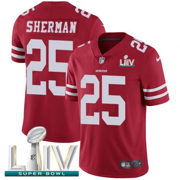 Nike 49ers #25 Richard Sherman Red Super Bowl LIV 2020 Team Color Men's Stitched NFL Vapor Untouchable Limited Jersey