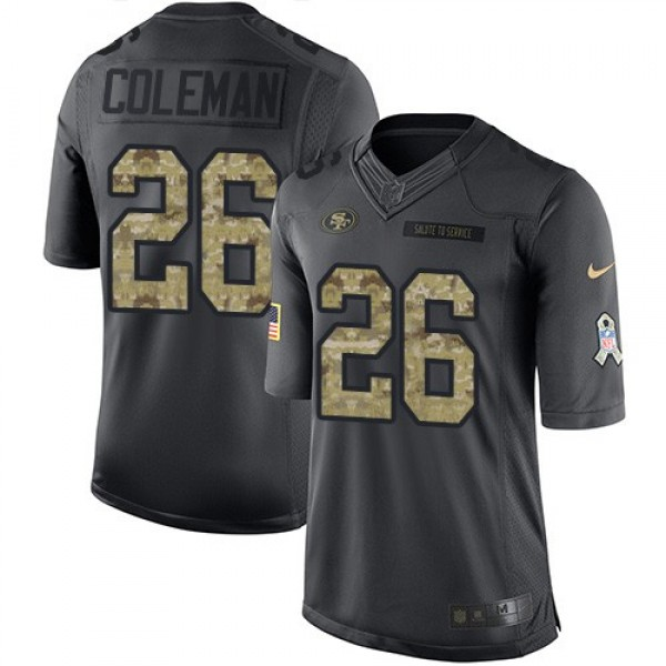 Nike 49ers #26 Tevin Coleman Black Men's Stitched NFL Limited 2016 Salute to Service Jersey