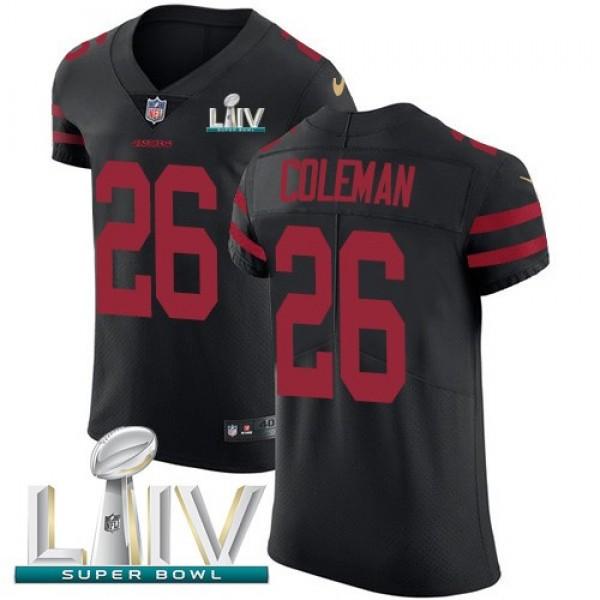 Nike 49ers #26 Tevin Coleman Black Super Bowl LIV 2020 Alternate Men's Stitched NFL Vapor Untouchable Elite Jersey