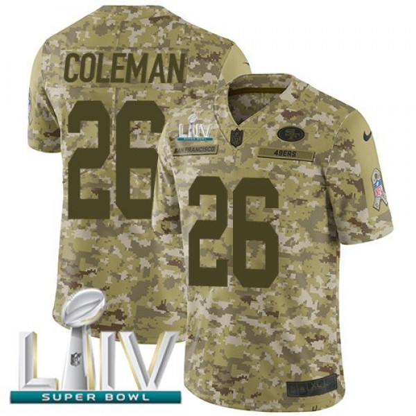 Nike 49ers #26 Tevin Coleman Camo Super Bowl LIV 2020 Men's Stitched NFL Limited 2018 Salute To Service Jersey