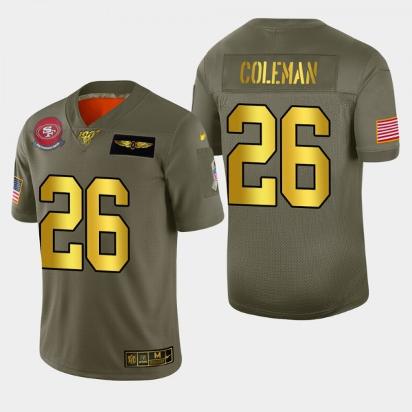 Nike 49ers #26 Tevin Coleman Men's Olive Gold 2019 Salute to Service NFL 100 Limited Jersey
