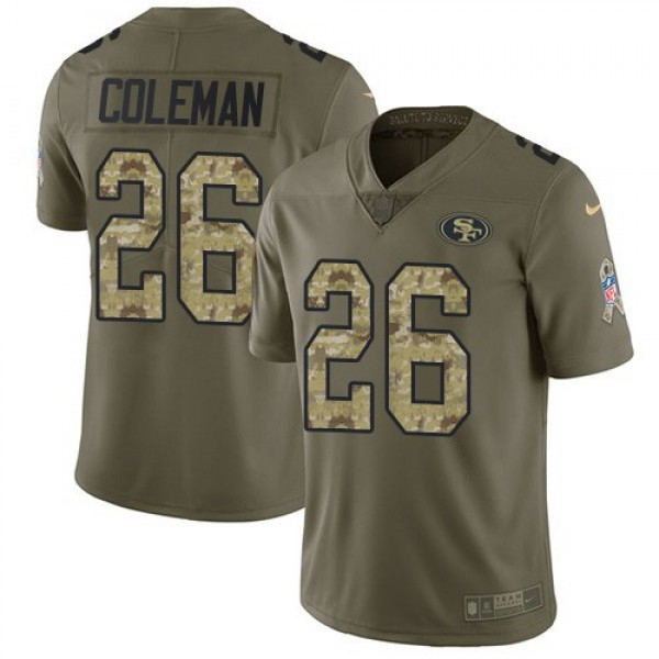 Nike 49ers #26 Tevin Coleman Olive/Camo Men's Stitched NFL Limited 2017 Salute To Service Jersey