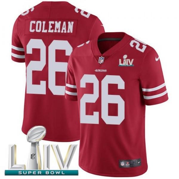 Nike 49ers #26 Tevin Coleman Red Super Bowl LIV 2020 Team Color Men's Stitched NFL Vapor Untouchable Limited Jersey