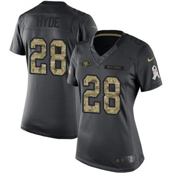 Women's 49ers #28 Carlos Hyde Black Stitched NFL Limited 2016 Salute to Service Jersey