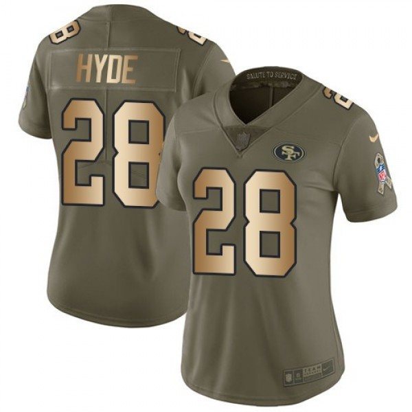 Women's 49ers #28 Carlos Hyde Olive Gold Stitched NFL Limited 2017 Salute to Service Jersey
