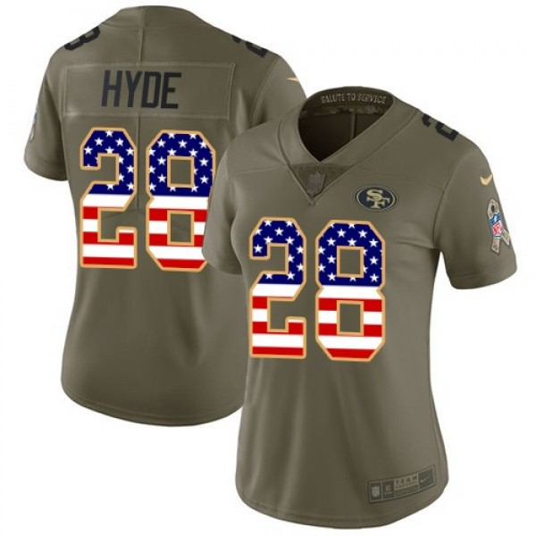 Women's 49ers #28 Carlos Hyde Olive USA Flag Stitched NFL Limited 2017 Salute to Service Jersey
