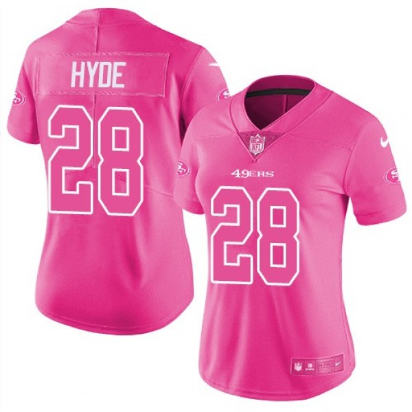 Women's 49ers #28 Carlos Hyde Pink Stitched NFL Limited Rush Jersey
