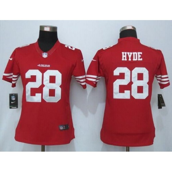 Women's 49ers #28 Carlos Hyde Red Team Color NFL Limited Jersey