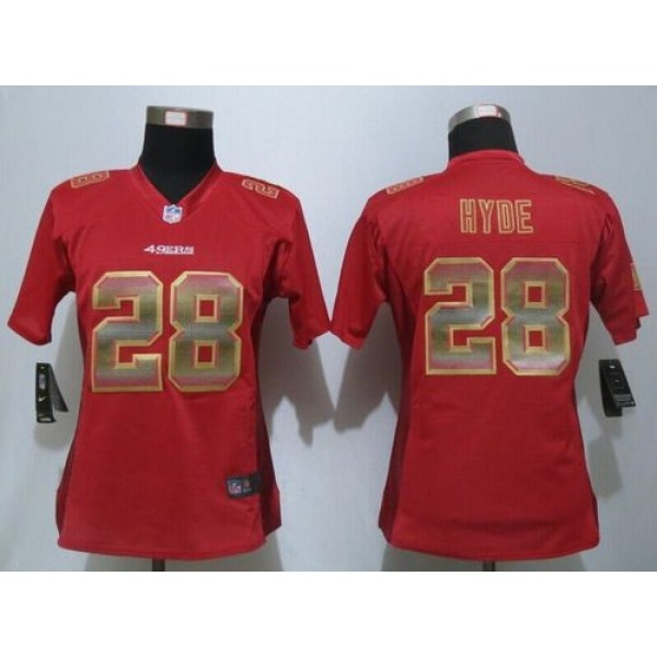 Women's 49ers #28 Carlos Hyde Red Team Color Stitched NFL Elite Strobe Jersey